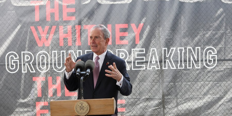 Mayor Michael Bloomberg officiating over the groundbreaking of the Whitney's new downtown location