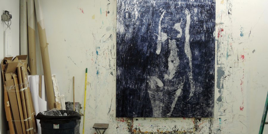 A nude still drying at Perez's studio