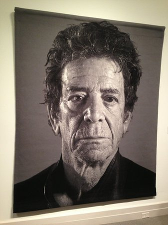 A close-up of Lou Reed's portrait