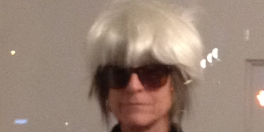 Art journalist Linda Yablonsky as Andy Warhol at AREA