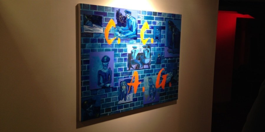 A painting by James Leary playfully conflating Picasso's blue period with the boys in blue