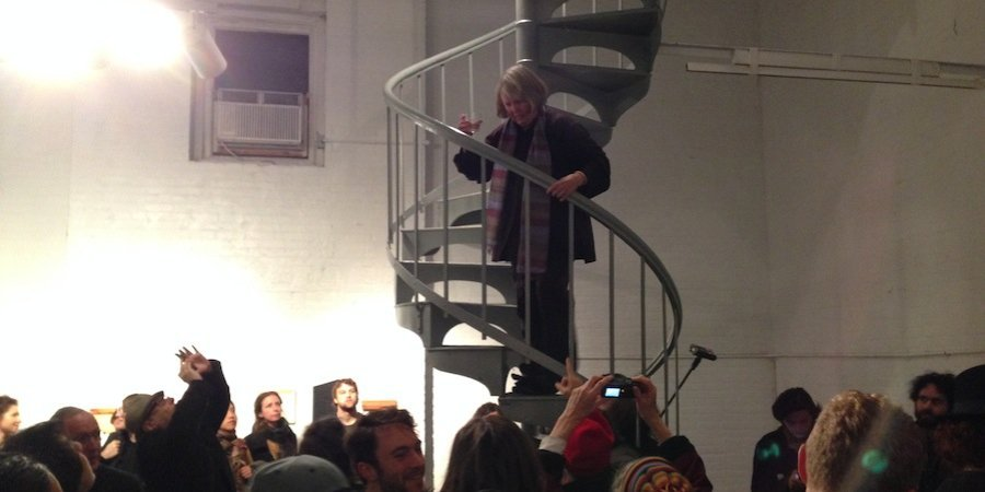 Alanna Heiss, the indispensable founder of both PS1 and the Clocktower Gallery, gave a funny, moving, and indomitable farewell speech to the site from a spiral staircase.