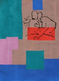 "Nick Mauss<br><em>This afternoon</em>, 2012<br>5-color, hand-stenciled gouache on paper, each unique<br>24"" x 18""<br>Signed and numbered by the artist"