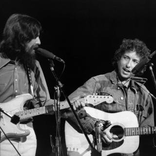 George Harrison and Bob Dylan (August 1, 1971) art for sale