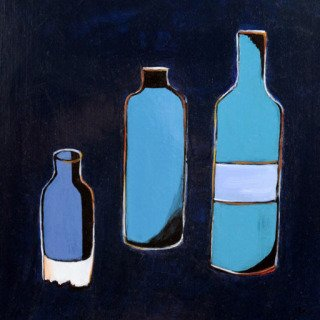 3 Bottles in Blue  art for sale