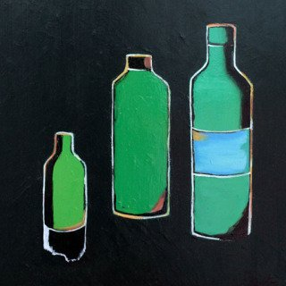 3 Bottles in Green art for sale