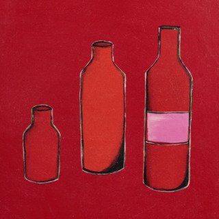 3 Bottles in Red art for sale