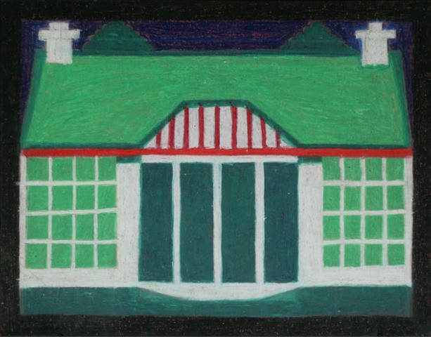 Eddie Arning, Untitled (Green House with Two Chimneys)