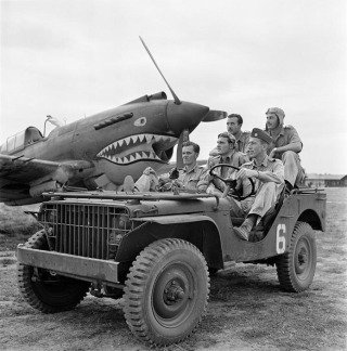 BURMA (Myanmar). Mingladon Air field, near Rangoon (Yangon). World War II. The Flying Tigers. Pilots Newkirk, Gesselbracht, Howard (front seat), Bartling and Lather (back seat). , by George Rodger