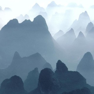 China. Guilin. Huangshan Mountains. 1980. Aerial view of Li River and Mountains. art for sale