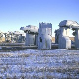 "Hiroji Kubota, USA. Alliance, Nebraska. 1991. Jim Reindors, a sculptor, was so inspired by Stonehenge in England that he and his relatives built their own ""Carhenge"" during a family reunion in Alliance in 1987."