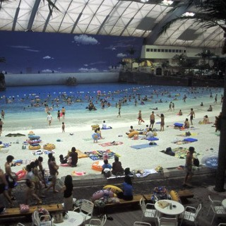 Japan. Miyazaki City. 2001. Seagaia is the world's biggest indoor water park. art for sale