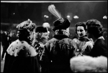 France. Paris. 1955. Conversation. Left to right: Countess Marina Cicogna, Mme. Pagliali, Princess Troubetzkoy (back to camera) and guests., by Inge Morath