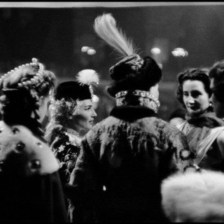 France. Paris. 1955. Conversation. Left to right: Countess Marina Cicogna, Mme. Pagliali, Princess Troubetzkoy (back to camera) and guests. art for sale