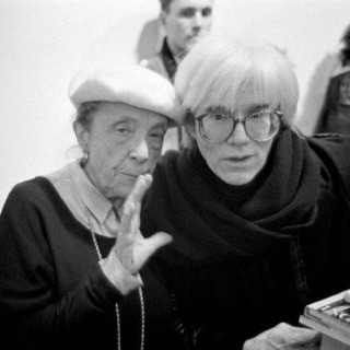Louise Bourgeois and Andy Warhol (holding my book), New York, 1987. art for sale