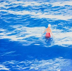 Isca Greenfield-Sanders Wading II (Blue) art for sale