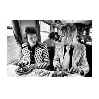 Mick Rock, David Bowie and Mick Ronson, Lunch on Train to Aberdeen, UK