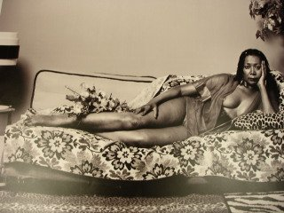 Mickalene Thomas Madame Mama Bush in Black and White art for sale