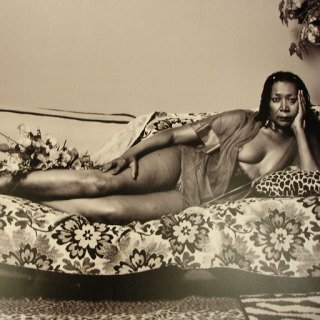 Madame Mama Bush in Black and White, by Mickalene Thomas