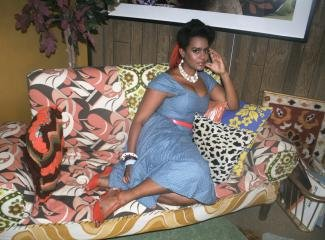 Mickalene Thomas Portrait Of Clarivel Lounging art for sale