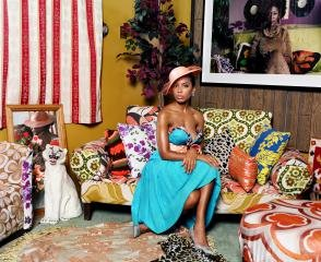 Mickalene Thomas Portrait of Lili in Color art for sale