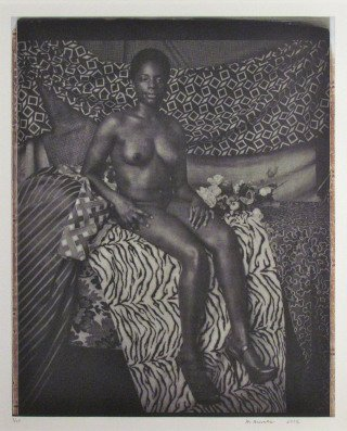 Portrait of Marie Sitting in Black and White, by Mickalene Thomas