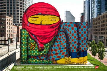 Os Gemeos Rose F. Kennedy Greenway Mural, Dewey Square, Boston. art for sale