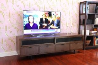 "9. Maria Yee Calistoga Media Console<br> Color: Coffee<br> 82""W x 22""D x 24""H<br> $2,700"