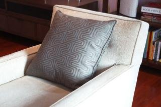 "20. Patterned Throw Pillow (sold as a pair)<br> Color: Grey Patterned<br> 21""Wx21""L<br> $50"